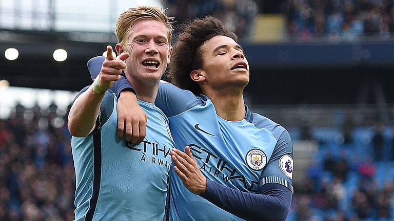 Kevin De Bruyne (left) is congratulated after giving Man City a 3-0 lead
