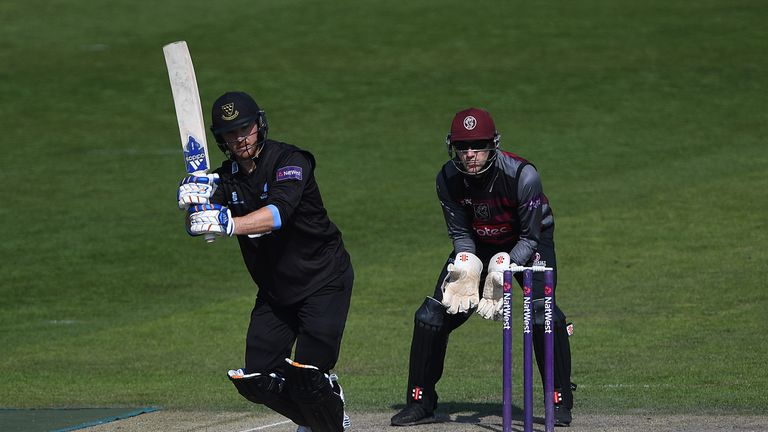 Laurie Evans was run out as Kent edged Sussex at Hove