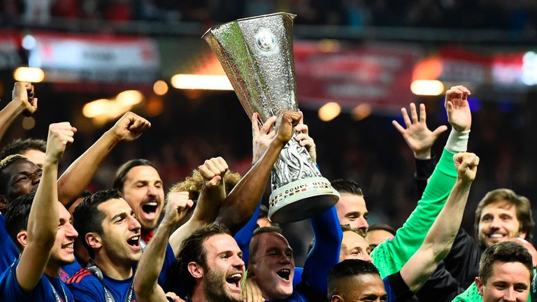 United celebrate after winning the UEFA Europa League final against Ajax
