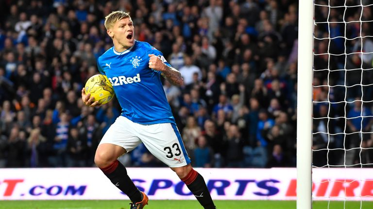 Martyn Waghorn celebrates his second-half goal for Rangers