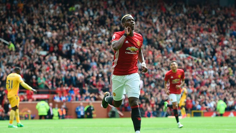 Paul Pogba celebrates scoring Manchester United's second goal against Crystal Palace