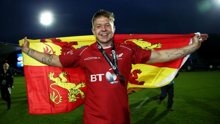 James Davies celebrates after the Scarlets' win over Leinster