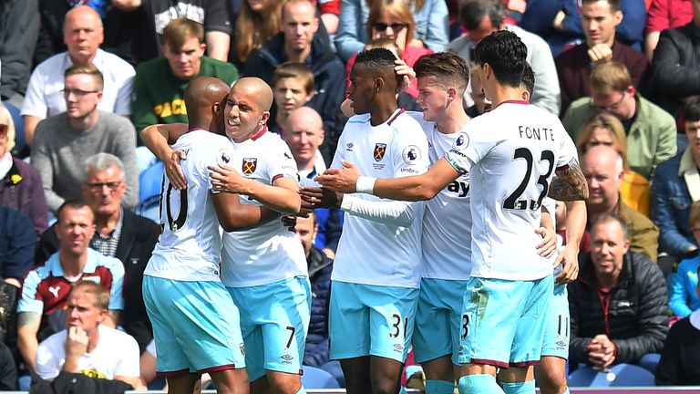Sofiane Feghouli (second left) is congratulated on scoring his team's equaliser