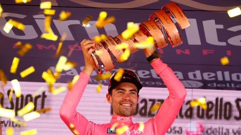 Tom Dumoulin celebrates his 2017 Giro d'Itala victory