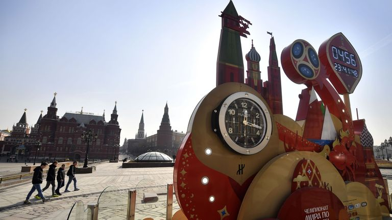 World Cup 2018-themed decorations in Moscow's Manezhnaya Square