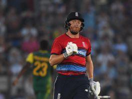 Jonny Bairstow of England celebrates after hitting the winning runs