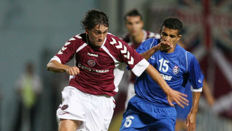 Trakai are captained by Deividas Cesnauskis, pictured playing for Hearts against Aberdeen's potential Euro opponents Siroki Brijeg 11 years ago