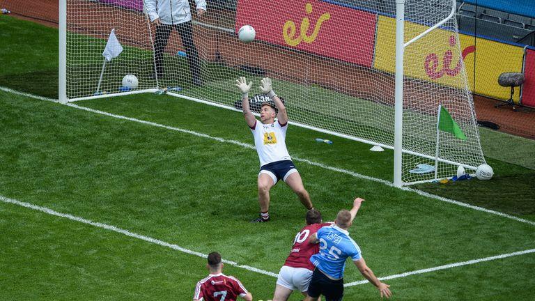 Eoghan O'Gara of Dublin scores his side's second goal during the Leinster GAA Football Senior Championship Semi-Final match