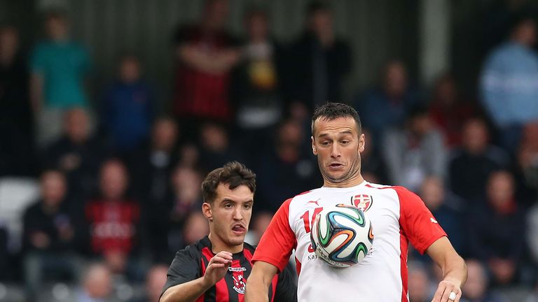 Josh Robinson in action for Crusaders during a UEFA Champions League qualifying round match against Skenderbeu Korce in July 2015