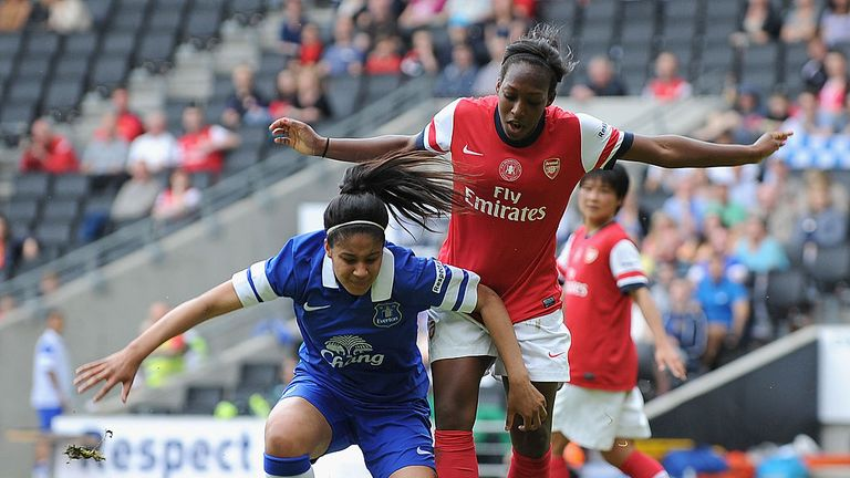 Gabby George fends off Arsenal's Dan Carter during 2014 Women's FA Cup Final