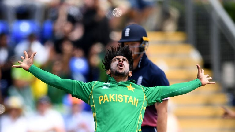 Pakistan's Hasan Ali celebrates one of his three wickets against England