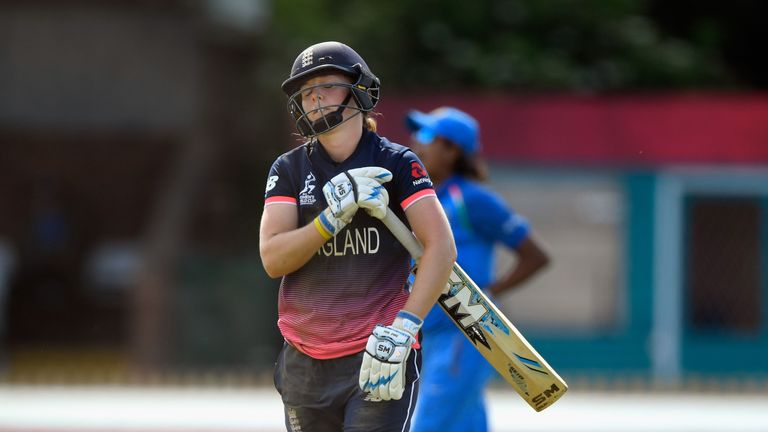 England captain Heather Knight trudges off after falling for 46
