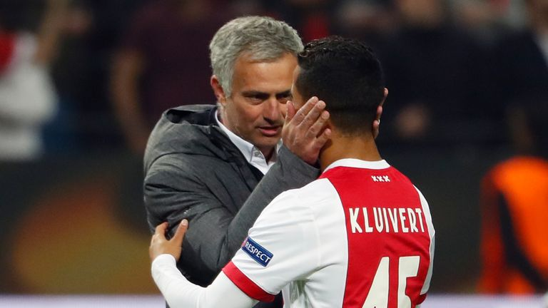 Jose Mourinho was seen speaking to Kluivert after United's Europa League final victory