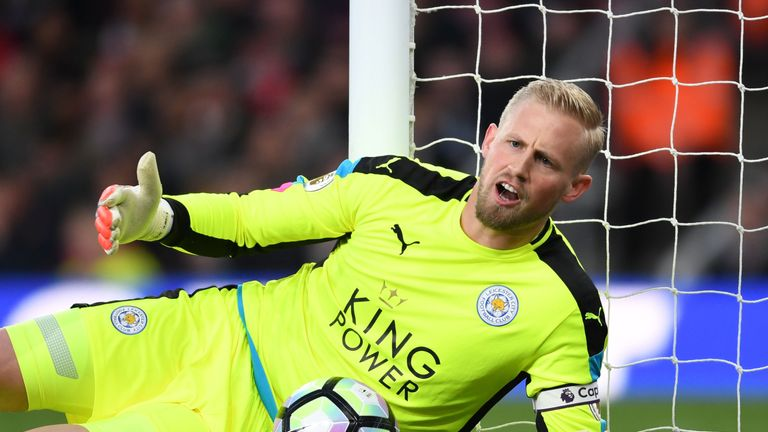 Kasper Schmeichel is out of Denmark's internationals with a thigh injury