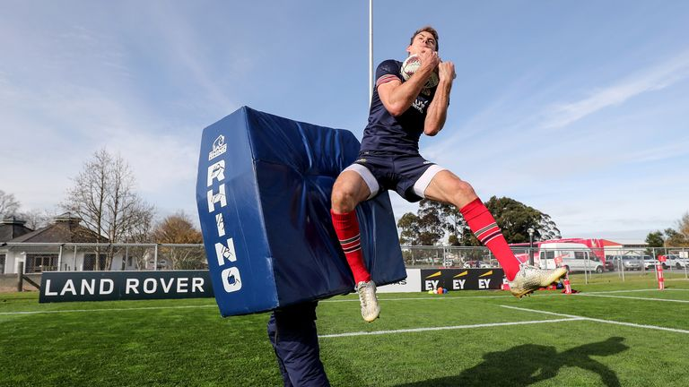 Liam Williams takes a high ball during practice