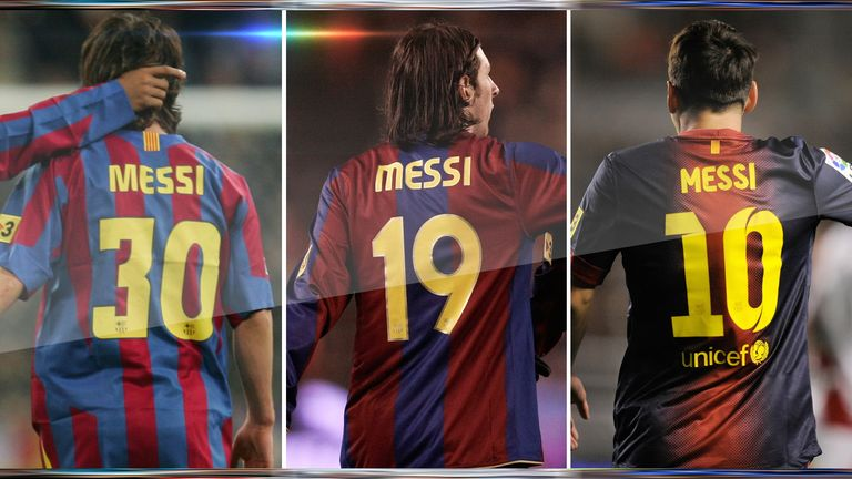 03ac729bbee Lionel Messi wore 30 before switching to 19 in 2006 - he then took the 10