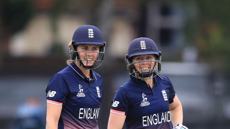 England's Natalie Sciver (left) and Heather Knight enjoy a lighter moment against Pakistan