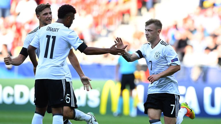Serge Gnabry and Max Meyer scored in Germany's win