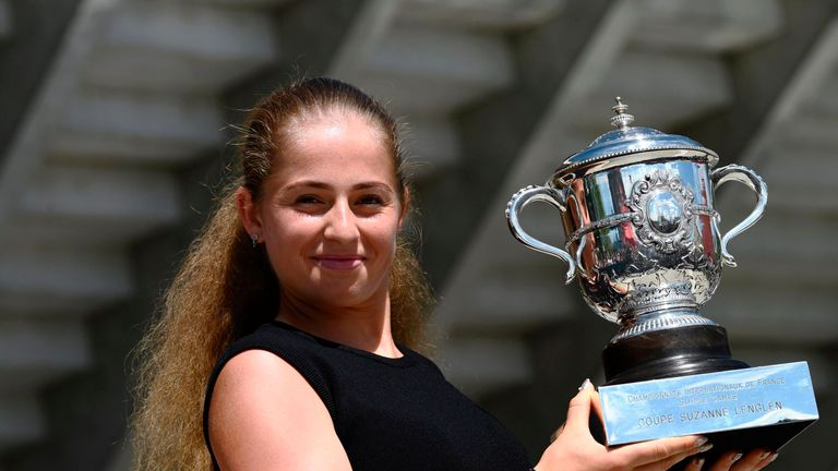 Latvia's Jelena Ostapenko poses with the French Open trophy