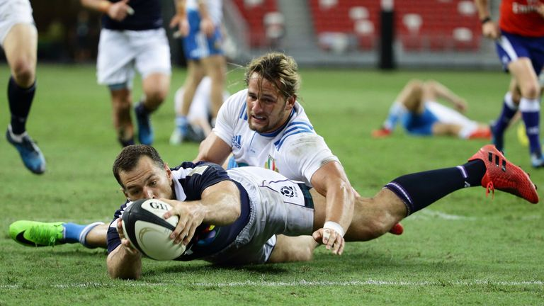 Tim Visser scores a try for Scotland