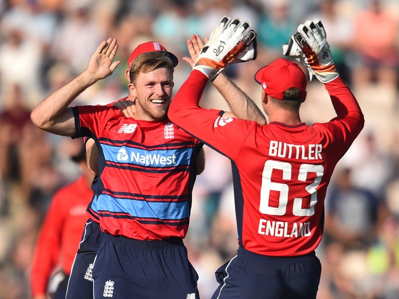England's David Willey had struck with the first ball of the game