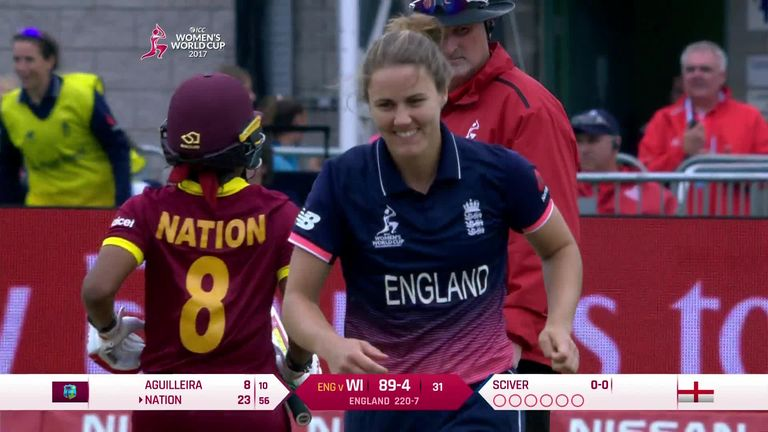 Nat Sciver picked up 3-3 to rock West Indies in England's final group game