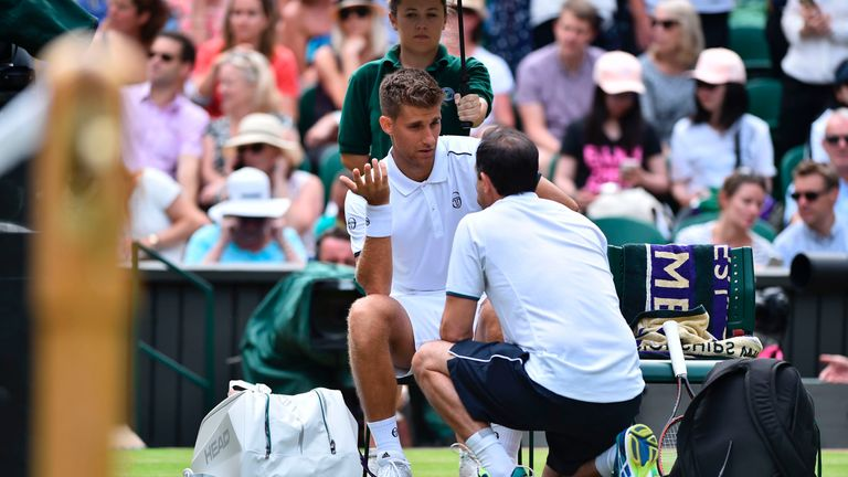 Martin Klizan retired from his men's singles first-round match against Novak Djokovic at Wimbledon