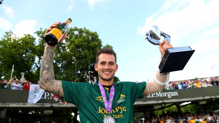 Alex Hales lifts the Royal London One-Day Cup after his match-winning knock
