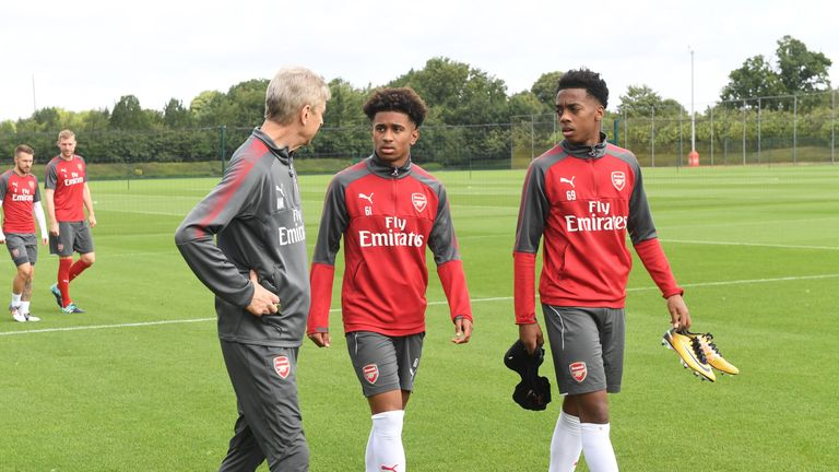 Arsene Wenger has praised the potential of Nelson (centre)