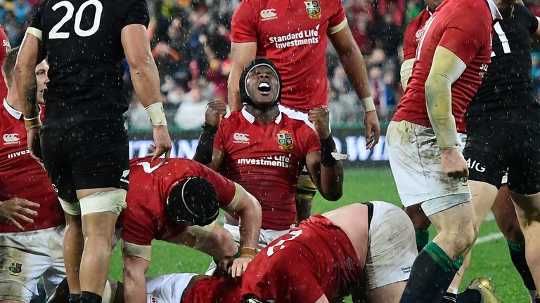 Maro Itoje celebrates beating New Zealand in the second Test