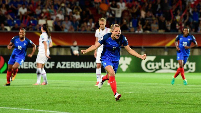 France forward Eugenie Le Sommer celebrates after scoring against Iceland