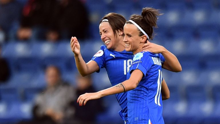 Daniela Sabatino (right) was on the scoresheet for Italy