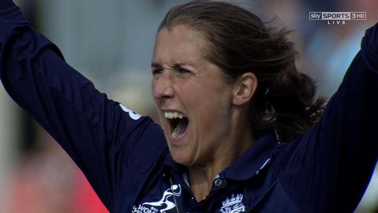 Jenny Gunn helped  England beat Australia by three runs in a last-over thriller