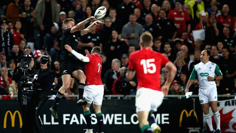 Jordie Barrett palms the ball down to set up the first All Blacks try