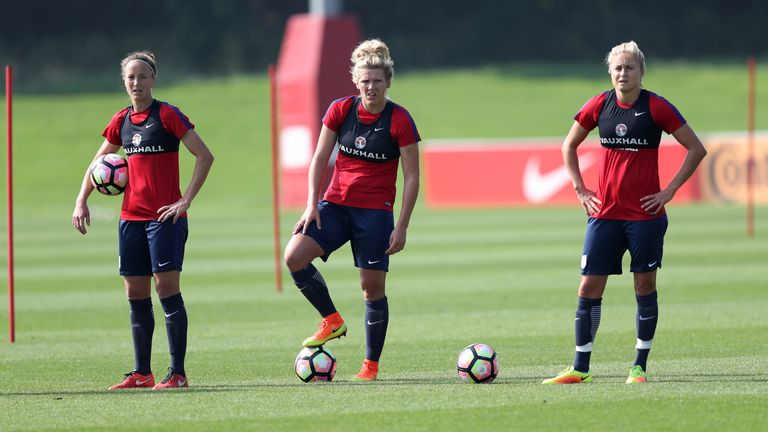 Laura Bassett, Millie Bright and Steph Houghton in England training at St George's Park