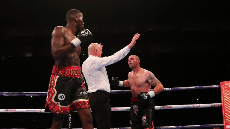 Another assault from Okolie forced the referee to step in
