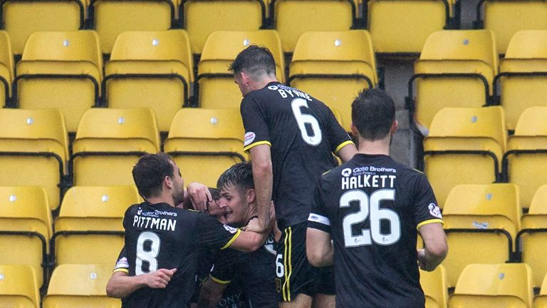 Livingston celebrate Keaghan Jacobs' opener