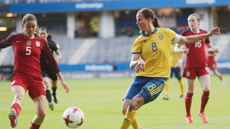 Lotta Schelin of Sweden competes for the ball during a friendly against the United States