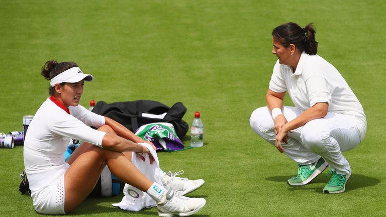 Conchita Martinez (right) with Muguruza at last year's Wimbledon
