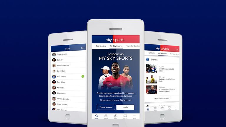 Track your favourite teams and players with 'My Sky Sports'