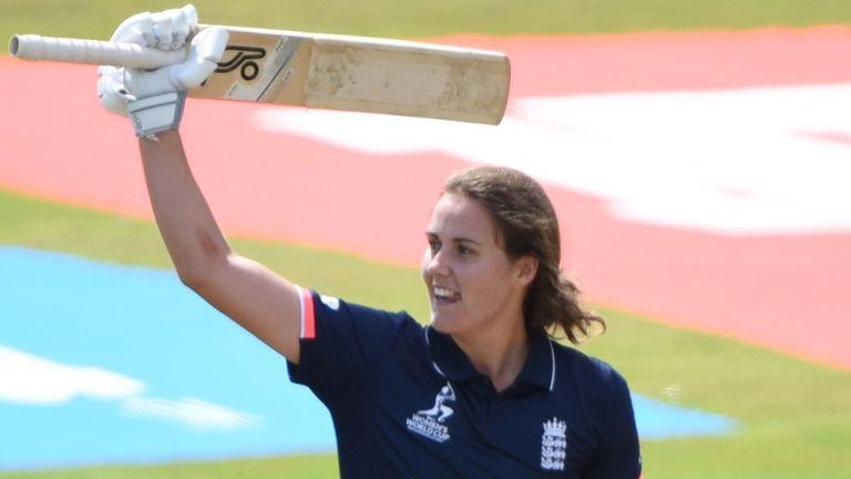 Natalie Sciver celebrates her second ICC Women's World Cup century