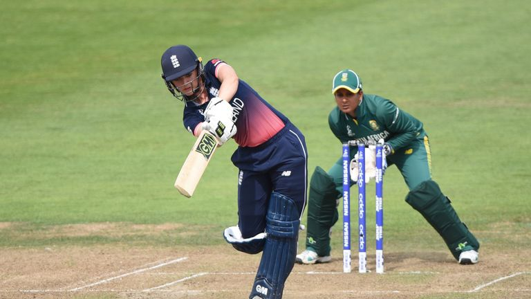 Sarah Taylor drives on her way to her 18th ODI fifty