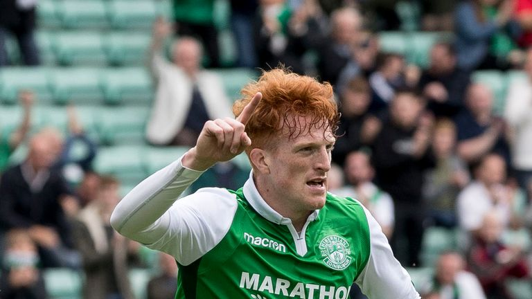 Simon Murray celebrates after scoring the opening goal for Hibs