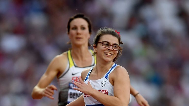 Sophie Kamlish of Great Britain crosses the line to win the Women's 100m T44 Final