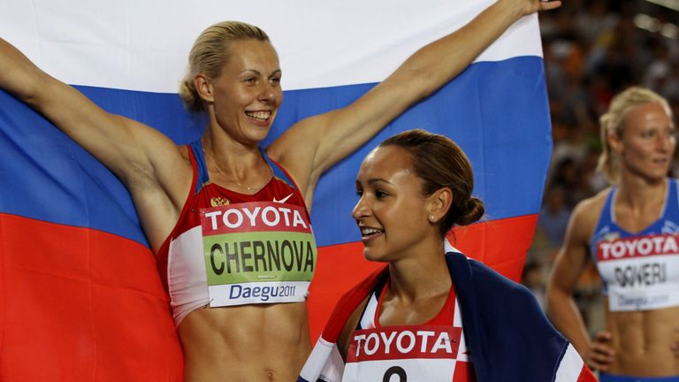 Tatyana Chernova beat Jessica Ennis-Hill to 2011 gold but has since been stripped of the title