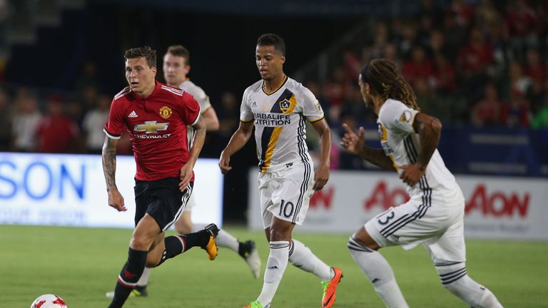 Lindelof played as part of a back three against LA Galaxy
