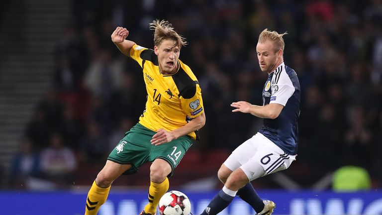 Vykintas Slivka featured for Lithuania against Scotland in their recent World Cup qualifier