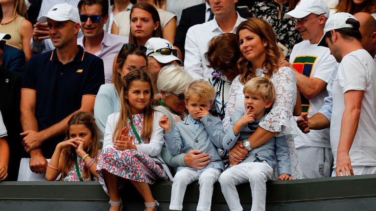 Mirka Federer celebrates with her children Charlene Riva, Myla Rose, Lenny and Leo