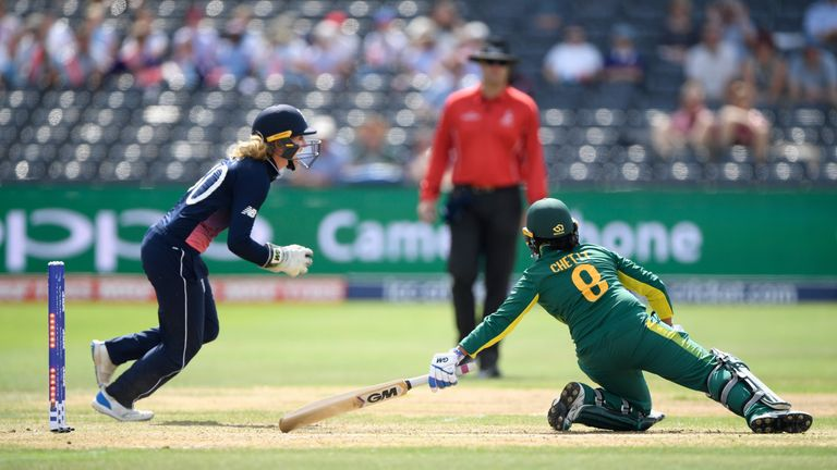 England wicketkeeper Sarah Taylor celebrates after stumping South Africa batsman Trisha Chetty in the semi-final