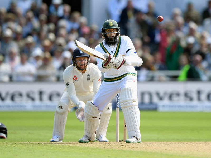 South Africa batsman Hashim Amla hits out during his 78 on day one